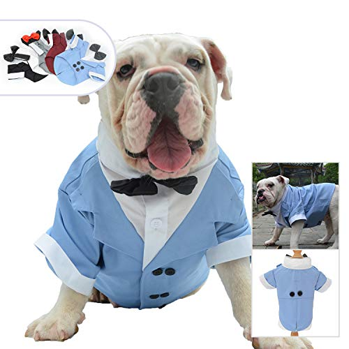 Lovelonglong Bulldog Costume Dog Suit Formal Tuxedo with Black Bow Tie Wedding Clothes for Pugs/French Bulldog/English Bulldog/American Pit Bull Light-Blue B-M