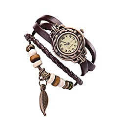 Fitfulvan New Women Girl Vintage Watches, leaf Pendant Bracelet Wristwatches Coffee