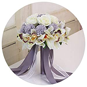 Bridal Wedding Bouquet, 3Pc Set Silk Wedding Bouquet Photograph Bridal Bouquet Artificial Hydrangea Iris Rose Wedding Flowers with Berries,Style 5 Syringa 69