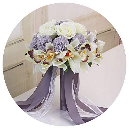 Bridal Wedding Bouquet, 3Pc Set Silk Wedding Bouquet Photograph Bridal Bouquet Artificial Hydrangea Iris Rose Wedding Flowers with Berries,Style 5 Syringa