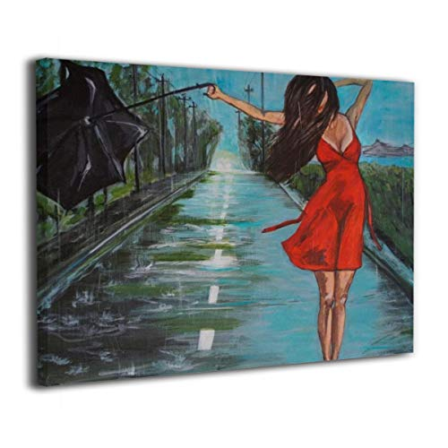 - Paulino Sexy Girl in Red Dress Dance in The Rain Modern Canvas Painting Wall Art Pictures for Home Decoration Print On Canvas Giclee Artwork Wall Decor 24