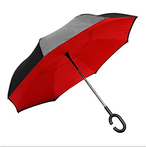 Moonvvin Double Layer Inverted Umbrellas Reverse Folding Umbrella Windproof UV Protection Big Straight Umbrella for Car Rain Outdoor with C-Shaped Handle