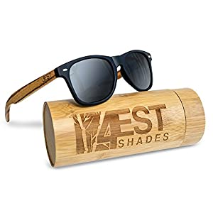 """Bamboo Sunglasses - 100% Polarized Wood Shades for Men & Women from the """"50/50"""" Collection (Brown, 0)"""