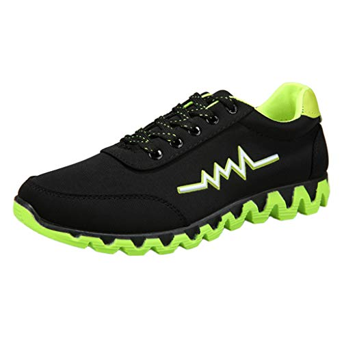 Swim Bike Blocks Run - Garish  Men's Lace Up Solid Sports, Casual Canvas Sneakers Shoes,Breathable Shoes, Design Green