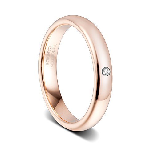 TUSEN JEWELRY 4mm Womens Rose Gold Zirconia Dome Comfort Fit Tungsten Carbide Wedding Band Ring