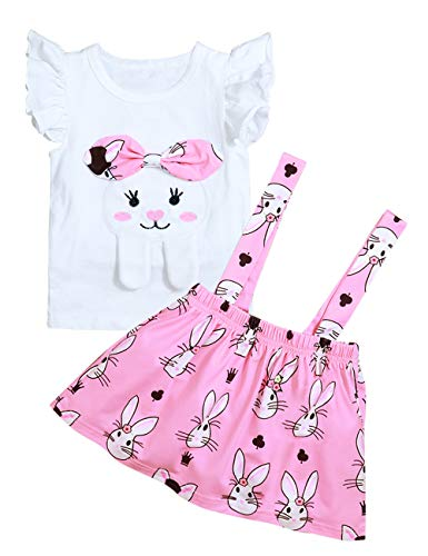 (Little Girls Easter Outfit Cartoon Bunny Ruffle Sleeveless T-Shirt Tops+ Rabbit Print Overall Skirt Sets(3-4T) White)