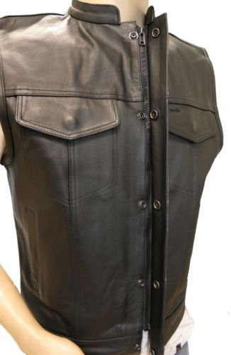 Sons of Anarchy Motorbike Leather New Black Vest With Cell Phone Gun Pockets All Sizes (4XL)