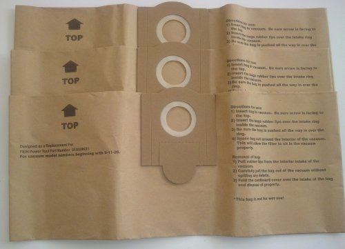 Fein 3 Turbo I 913038K01 Disposable Paper Bags Turbo I Models, Generic 3pk. ()