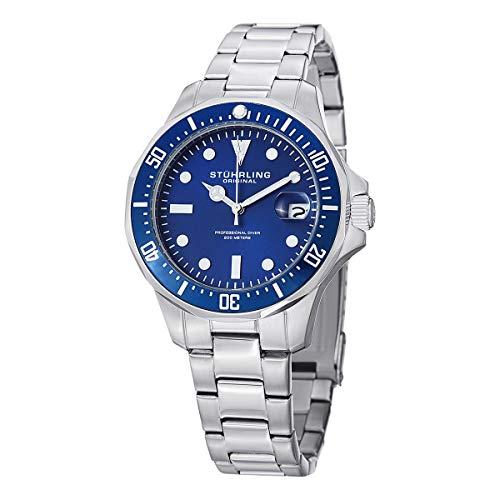 (Stuhrling Original Aquadiver Mens Dive Watch - Quartz Analog Waterproof Sports Watch - Blue Dial Date Display Swim Wrist Watch for Men - Luminous Waterproof Watch with Stainless Steel Bracelet 664.02)