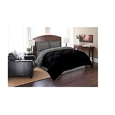 Elegant Comfort ® Goose Down Alternative Reversible 3pc Comforter Set, King/Cal King, Black/Gray