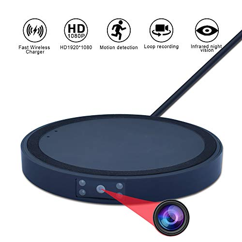 Upgraded Spy Camera Wireless Charger – 2 in 1 Hidden Cam with Charge Pad – HD 1080P Mini Security Cameras Fast Wireless Charging Pad Compatible with iPhone Samsung Mot