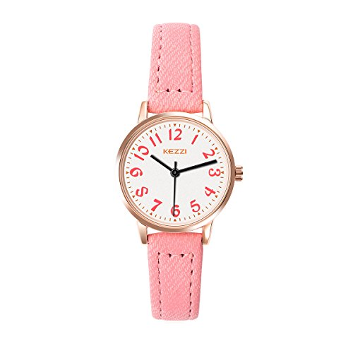 KEZZI Watches for Girls - Easy Time Telling Kids Watch with Pink Faux Leather Strap