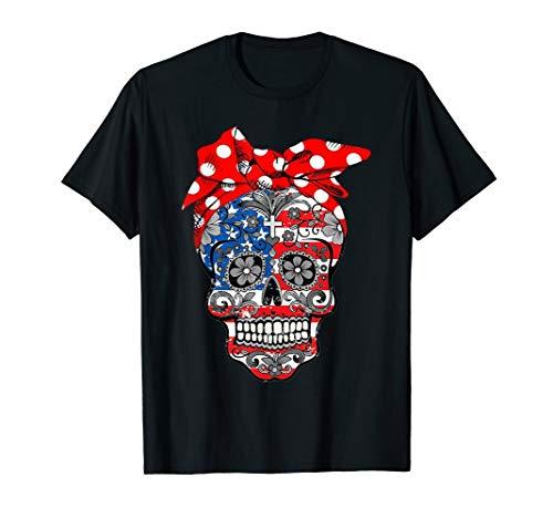 (Sugar Skull American Flag Bow 4th of July T-Shirt)