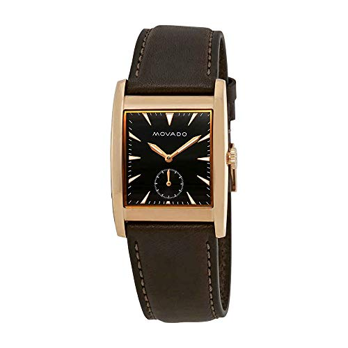 Men's Heritage Brown Leather Band Steel Case Sapphire Crystal Swiss Quartz Black Dial Watch - Movado 3650042