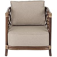 East at Main Alstead Brown Square Rattan Accent End Chair, (27.5x27.5x26)