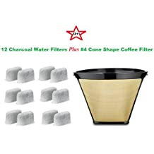 #4 Cone Shape Permanent Coffee Filter & a set of 12 Charcoal Water Filters for Cuisinart DCC-RWF1 Coffeemakers