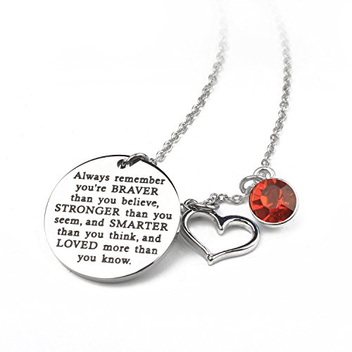 er Than You Believe Inspirational Necklace With Birthstone Graduation Gift Best Friend Encouragement Gifts Birthday Gift (07-July Ruby) (July Womens Necklace)