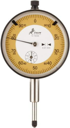 Brown & Sharpe TESA 01419048 Etalon Precision Dial Gauge Indicator, M2.5 Thread, 8mm Stem Dia., White, Yellow Dial, 0-50-100 Reading, 58mm Dial Dia., 0-10mm Range, 0.01mm Graduation, +/-0.015mm Accuracy