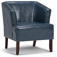 Simpli Home AXCTUB-005-DBU Longford Tub Chair, Denim Blue