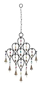 """Deco 79 26733 Metal Bell Wind Chime, 24"""" x 10"""""""