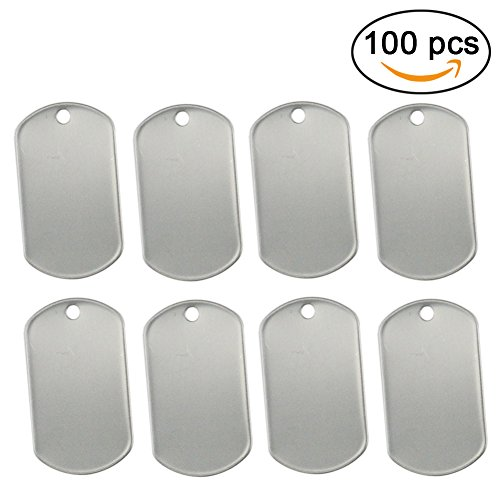100 Pack Weight - Orgrimmar 100 Shiny Stainless Steel Military spec Rolled Edge Backing Dog Tags - BLANK (Pack of 100)