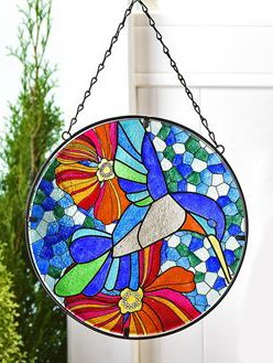 Large Multicolor Glass Suncatchers (Bird)