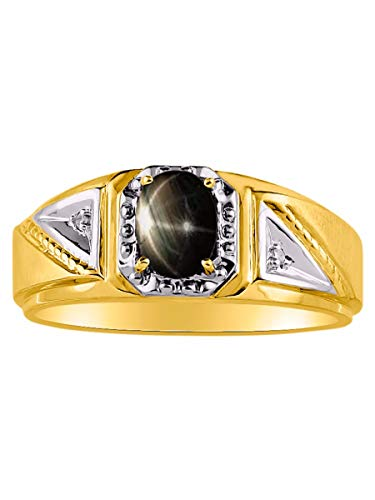 Genuine Diamond & Gorgeous Oval Black Star Sapphire Ring set in Yellow Gold Plated Silver