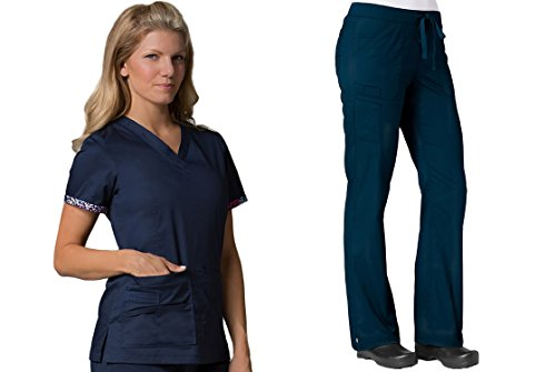 PrimaFlex by Maevn Inner Beauty V-Neck Top & Straight Leg Pant Scrub Set (3X-Large, True (Lycra Straight Leg Pants)