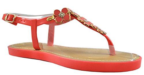Damen Flache Slip auf Sandalen offene Zehen Post Jelly Flip Flops Hausschuhe Herz Rüsche mit Blütenblatt Coral Metal Petal Ankle Strap