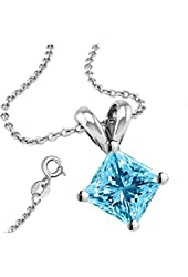 Synthetic Aquamarine Cubic Zirconia Necklace Pendant with 18 Inch Rolo Chain in 925 Sterling Silver