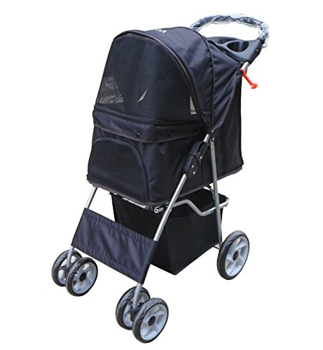 VIVO Four Wheel Pet Stroller, for Cat, Dog and More, Foldable Carrier Strolling Cart, Multiple Colors 41NFveOEOaL