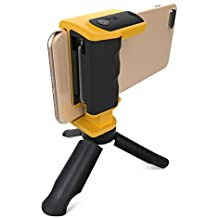 Adonit PhotoGrip Shutter Remote Bluetooth Selfies with Tripod Phone Grip Camera Stable Shots, for iPhone X/XR/ XS or Newer, Samsung Galaxy and Android Smartphones - Yellow