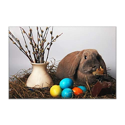 YLJH Placemats, Rabbit Easter Egg Easter Candle Willow Vase Table Mats,Placemat Non-Slip Washable Place Mats,Heat Resistant Kitchen Tablemats for Dining Table