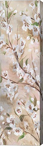 (Cherry Blossoms Taupe Panel II by TRE Sorelle Studios Canvas Art Wall Picture, Gallery Wrapped with Image Around Edge, 9 x 33 inches)