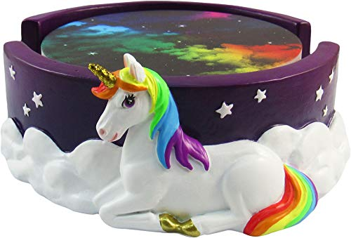 World of Wonders - Unity Series - Stargazer - Collectible Unity The Unicorn Magical Golden-Horned Rainbow Coaster Holder with Set of Four (4) Ceramic Fantasy Galaxy Coasters, 6-inch