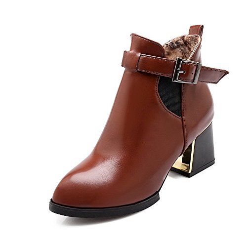 AgooLar Solid Closed Heels Low Material Women's Pointed top Kitten Soft Toe Brown Boots wFxWpwaqrv