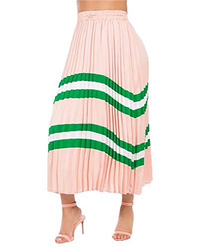 Women's Pleated Skirts Color Block Stripes Print Elastic Waist Long Vintage A-Line Swing Midi Skirt Pink L
