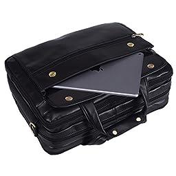 Polare Leather Men\'s Briefcase / Laptop Bag / Messenger, Black