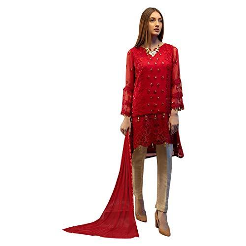 Red Designer Uneven Kurti style Salwar Kameez Suit Muslim Pakistani dress Women Party wear Un-stitch 7867 (Best Pakistani Designers 2019)