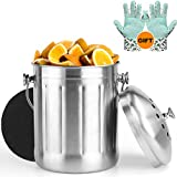 Indoor Kitchen Stainless Steel Compost Bin, Includes 1 Carbon Filter and Anti-Slip PVC Dots Garden GLoves,1.3 Gallon