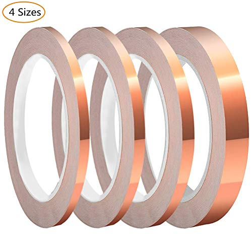 SUMAJU 4 Pack Copper Foil Tape with Conductive Adhesive 4 Sizes x 22Yards Copper Tape for EMI Shielding, Slug Repellent, Paper Circuits, Electrical Repairs, Grounding ()
