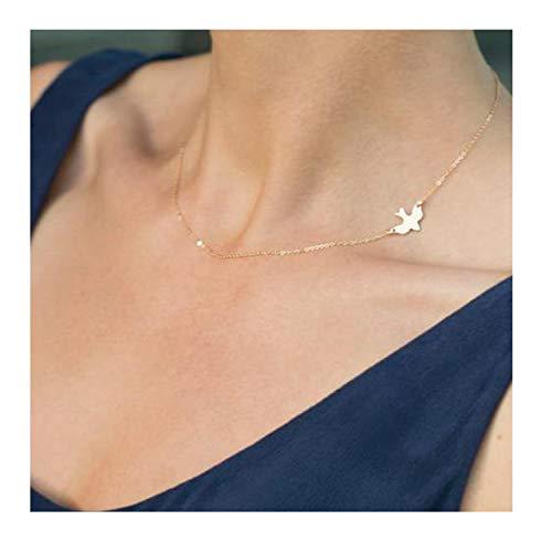 MOMOL Dove Bird Choker Necklace, Small Soar Dove Bird Flying Bird Sideways Pendant Charm Necklace Faith Hope Love Dove Necklace for Women Girls (Dove)