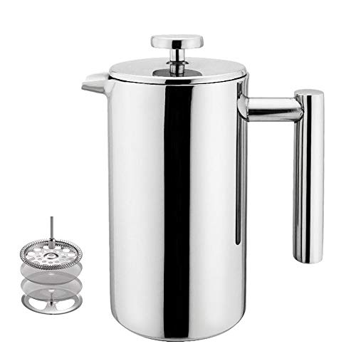 Highwin Small Stainless Steel French Press – 3 cups 4 oz each Coffee Plunger, Press Pot, Best Tea Brewer Maker, Quality Cafetiere – Double Walled. Unique Dual-Filter. Individual Serving