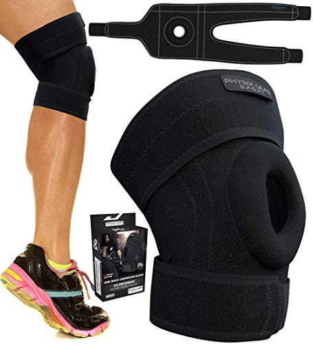 Physix Gear Knee Braces for Women & Men – Best Patella Stabilizing Knee Brace for Arthritis Pain and Support, Knee Support Brace – Adjustable Knee Brace for Women & Men Knee Pain Relief BLK/Grey M