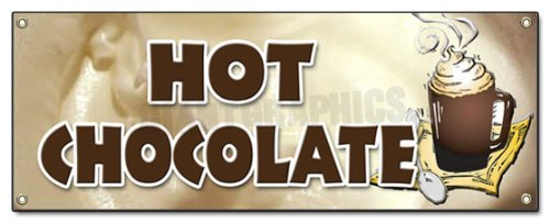 Hot Chocolate Banner Sign Cocoa Flavor Maker Signs New