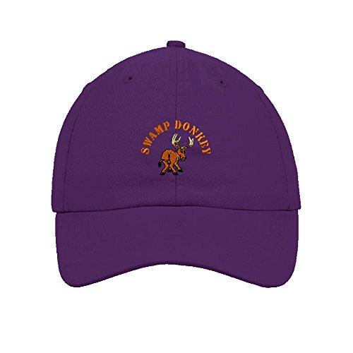 Swamp Donkey Embroidered Soft Unstructured Hat Baseball Cap - Purple Donkey Hat