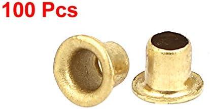 uxcell リベットナット 4mm x 4mm スルーホール PCB回路基板 中空銅リベット グロメット 100個入り