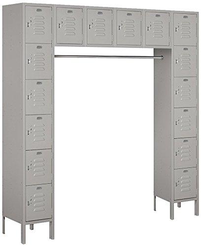 (Salsbury Industries 66016GY-U Six Tier Box Style Bridge 16 Box 18-Inch Deep Unassembled Standard Metal Locker, Gray)