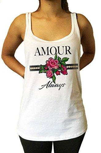 Irony Jersey Top 'Amour Always' Effetto di Ricamo Fiori Francia Love Rose JTK1038