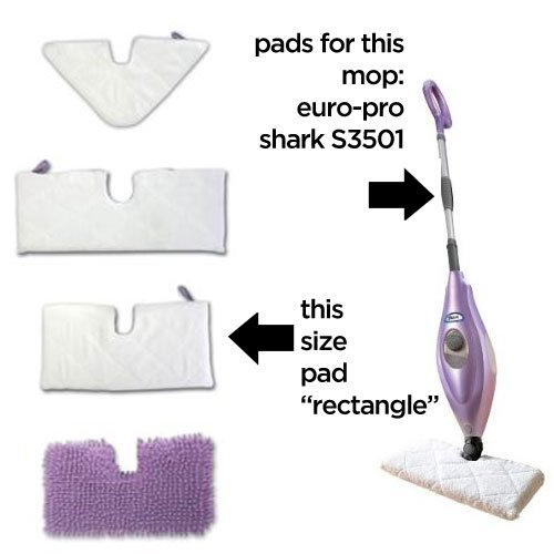 Replacement RECTANGLE Cleaning Pads (2-pack) for Euro-Pro Shark Mop S3501
